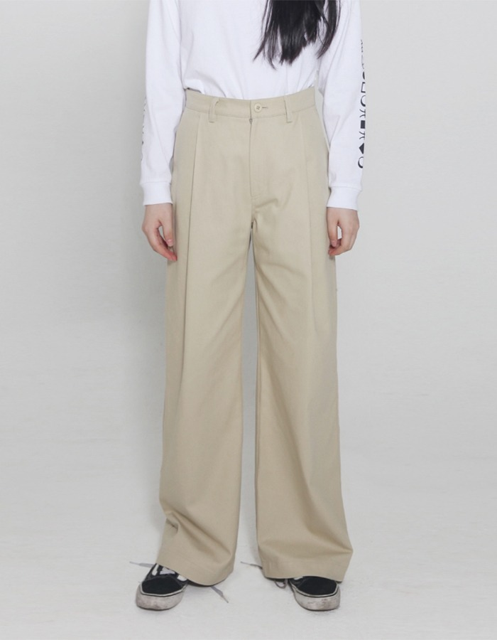halominium) one pleated wide pants - beige, black