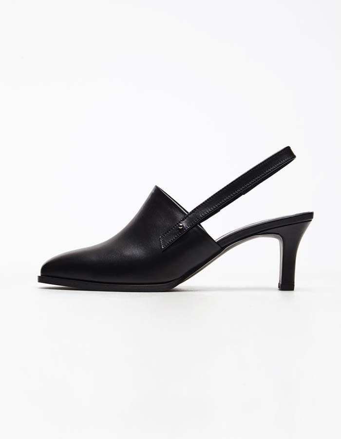 column) black sling back heels