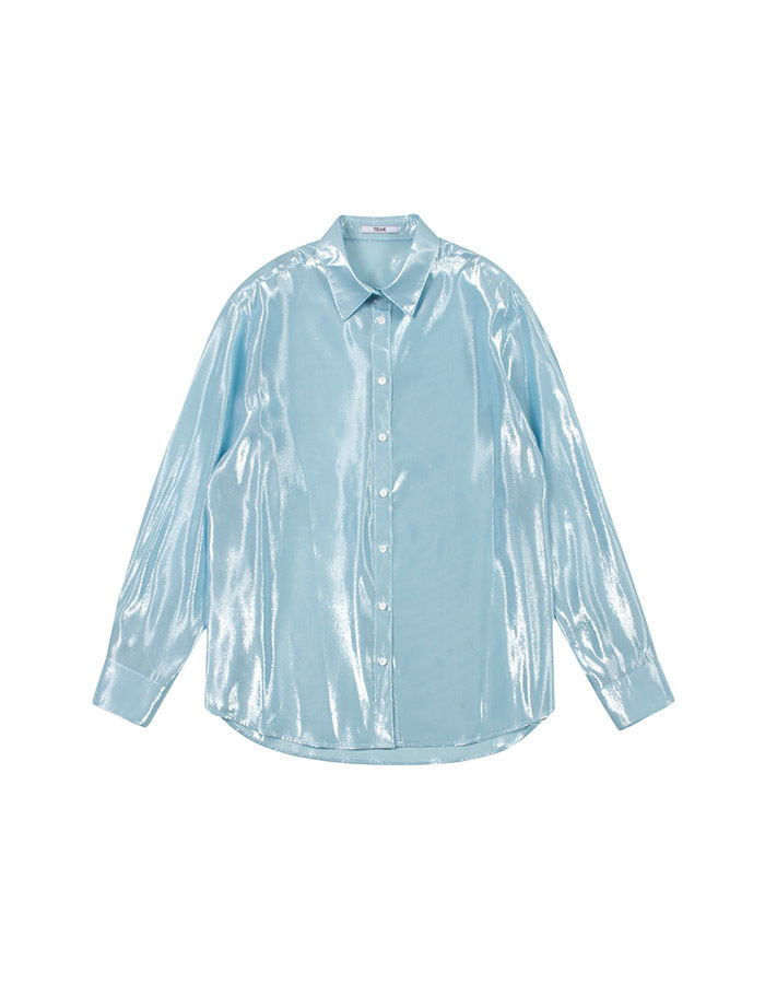 teak) sky blue silk blouse - 마지막 제품
